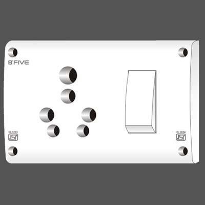 6 & 16 Amp. S.S. Combined Switch Socket